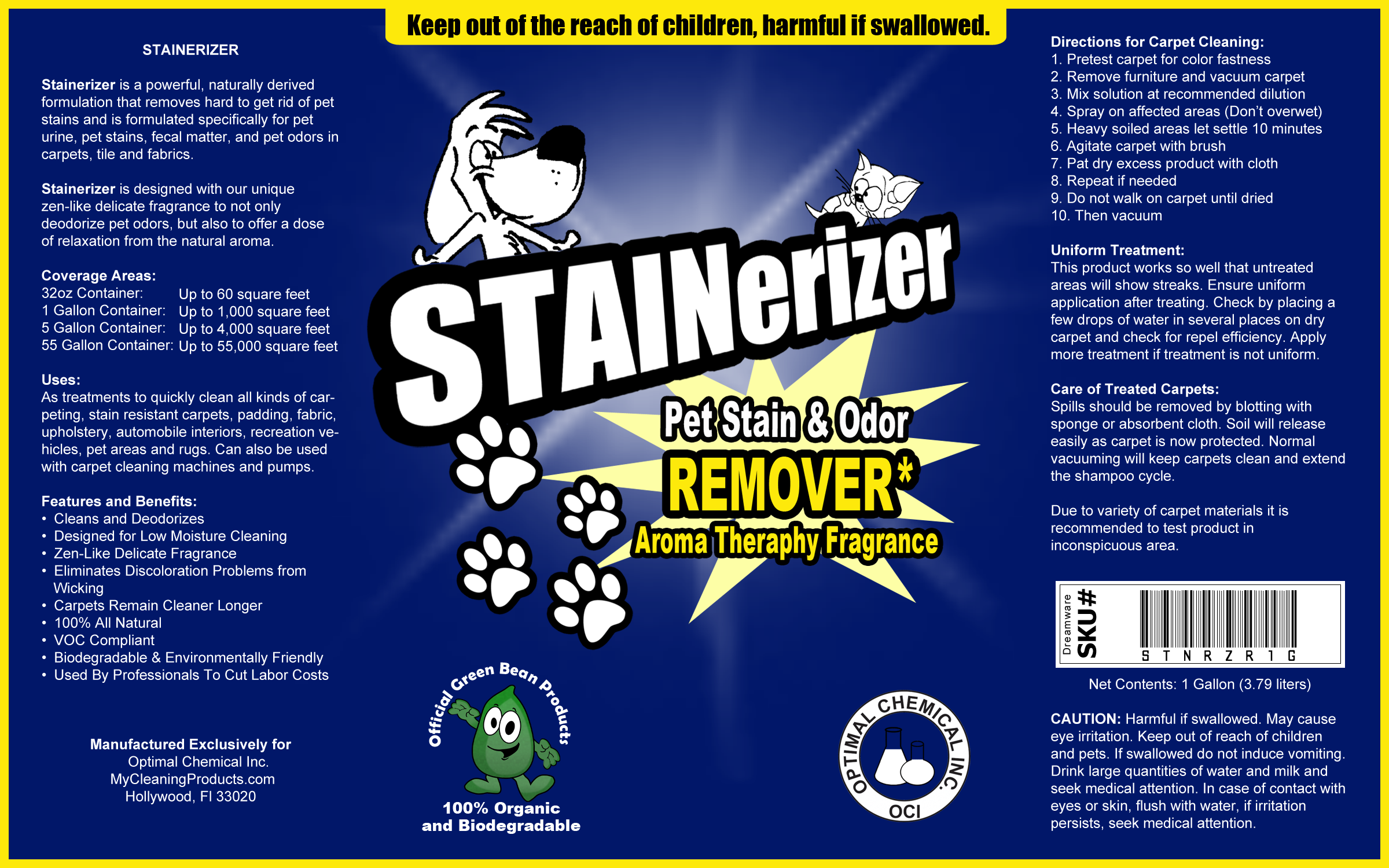 Stainerizer Non Toxic Pet Urine Enzyme Cleaner 1 Gallon