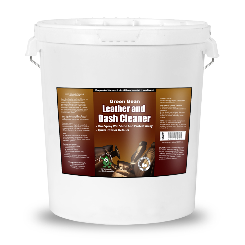 Leather and Dash Cleaner - Green Leather Conditioner, 5 Gallon